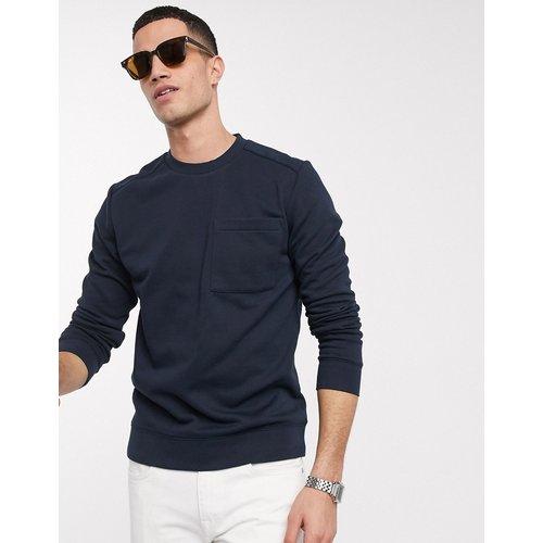 Sweat-shirt ras de cou avec poche - Bleu marine - Selected Homme - Modalova