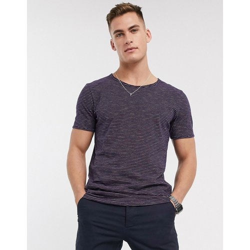T-shirt encolure large à rayures - Rose - Selected Homme - Modalova
