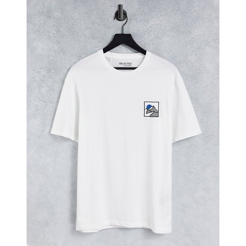 T-shirt oversize à broderie montagne sur le devant - Selected Homme - Modalova