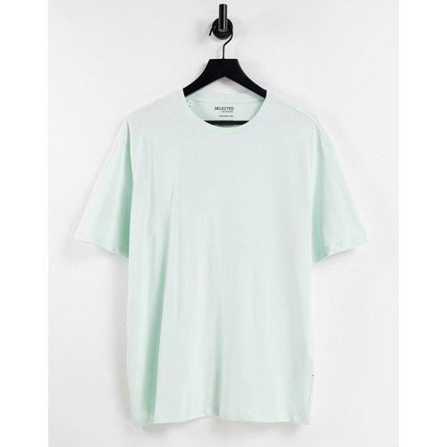 T-shirt oversize en coton biologique à col montant - Menthe - Selected Homme - Modalova
