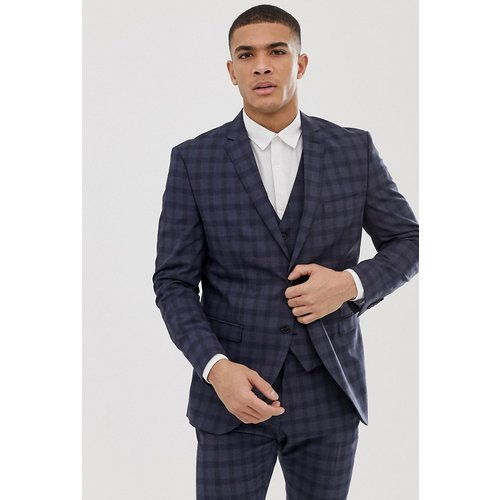 Veste de costume slim - Carreaux bleu marine - Selected Homme - Modalova