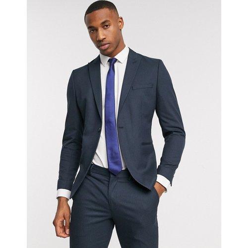 Veste de costume slim stretch à petits carreaux vichy - Bleu marine - Selected Homme - Modalova
