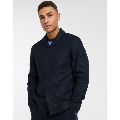 Veste de costume style travail en lin mélangé - Bleu marine - Selected Homme - Modalova