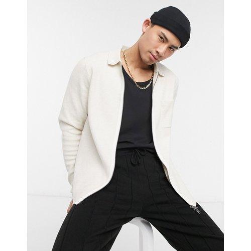 Veste zippée en maille - Écru - Selected Homme - Modalova