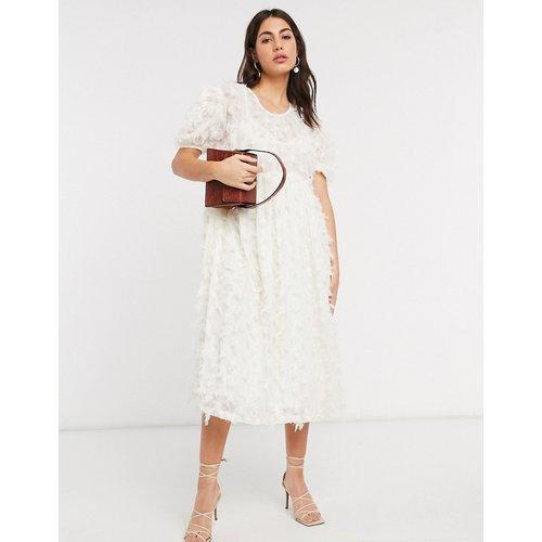 Robe babydoll mi-longue oversize avec jupe évasée effet texturé - sister jane - Modalova