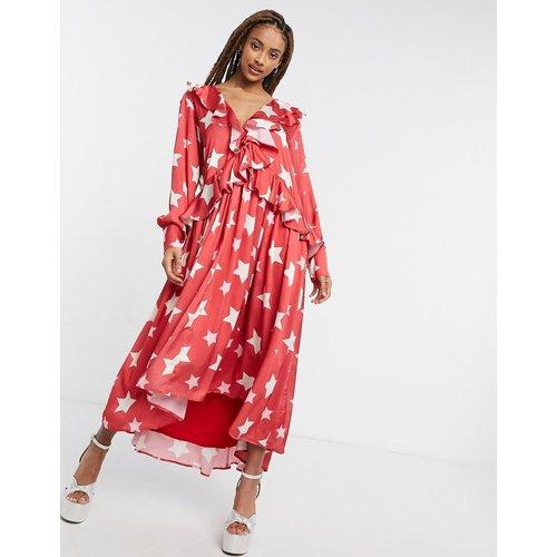 Robe mi-longue à volants avec jupe évasée et imprimé étoiles - sister jane - Modalova