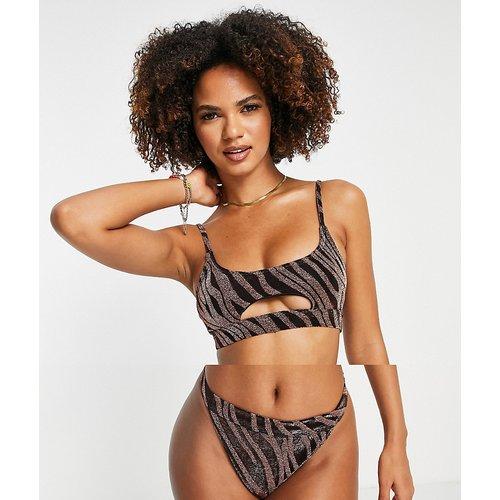 Bikini métallisé échancré à imprimé zébré - Rose doré - South Beach - Modalova