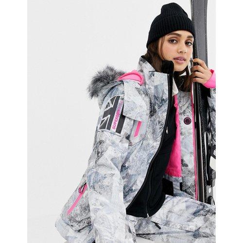 Manteau de ski avec logo et intérieur contrastant à imprimé multicolore - Superdry - Modalova