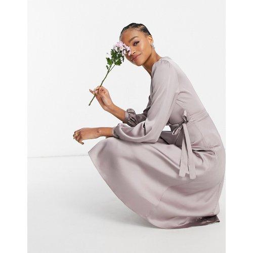 Demoiselle d'honneur - Robe portefeuille mi-longue en satin à manches longues - TFNC - Modalova