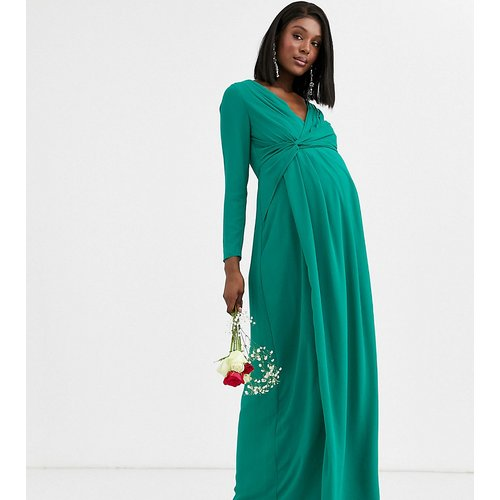 Bridesmaid - Robe longue cache-cœur à effet torsadé - émeraude - TFNC Maternity - Modalova