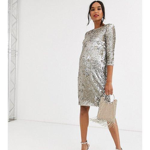 Robe courte moulante à motif et sequins - Or et argent - TFNC Maternity - Modalova