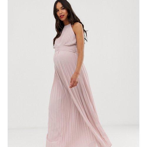 Robe longue plissée à col montant pour demoiselle d'honneur - Taupe - TFNC Maternity - Modalova