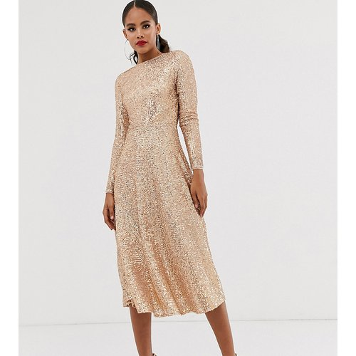 Robe trapèze mi-longue à sequins - Or rose - TFNC Tall - Modalova