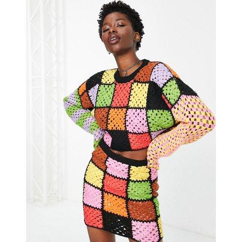 Pull court oversize en maille au crochet motif patchwork (pièce d'ensemble) - Arc-en-ciel - The Ragged Priest - Modalova