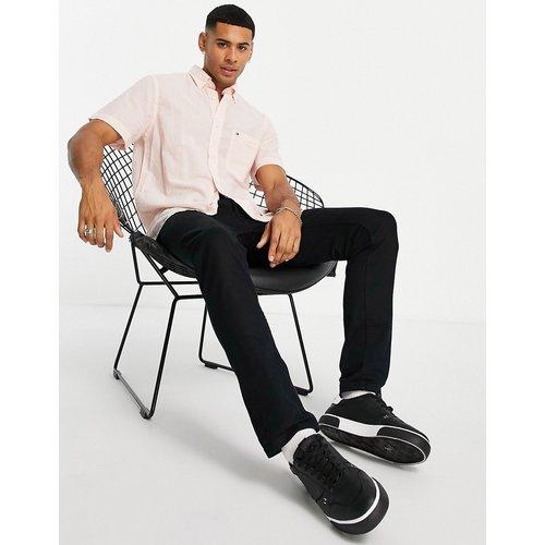 Chemise manches courtes classique en crépon avec logo emblématique et rayures - Coucher de soleil d'été/blanc - Tommy Hilfiger - Modalova