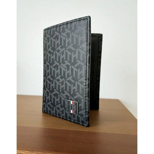 Portefeuille à deux volets en cuir à imprimé monogramme et logo - Tommy Hilfiger - Modalova
