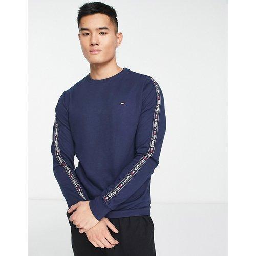 Sweat-shirt authentique confort avec bandes latérales à logo - Bleu marine chiné - Tommy Hilfiger - Modalova
