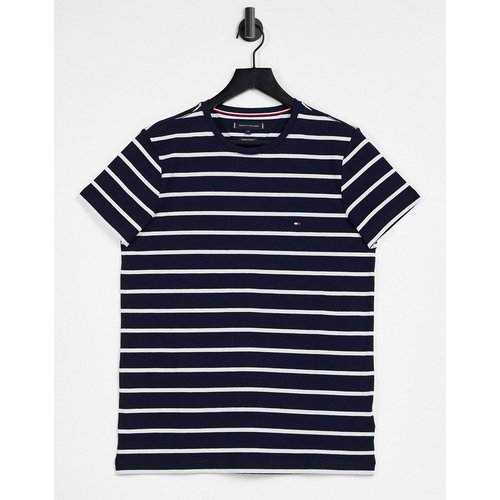 T-shirt ajusté à rayures - Bleu - Tommy Hilfiger - Modalova