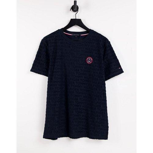 T-shirt confort en tissu éponge avec logo tennis - Bleu - Tommy Hilfiger - Modalova