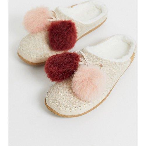 Mules style chaussons à pompons - Mélange - TOMS - Modalova