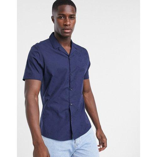 Chemise à manches courtes et imprimé floral ton sur ton - Bleu - Topman - Modalova