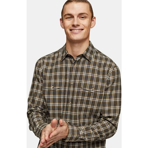 Chemise à manches longues et à carreaux printaniers - Kaki - Topman - Modalova