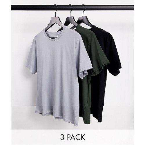 Lot de 3 t-shirts classiques - Noir/gris/kaki - Topman - Modalova