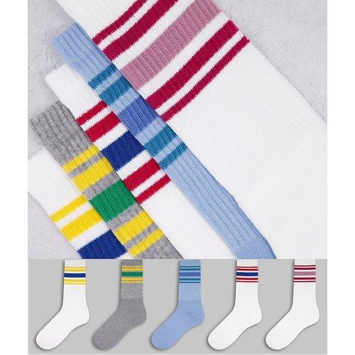 Lot de 5paires de chaussettes tube à rayures - Topman - Modalova