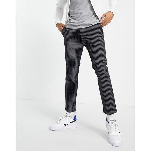 Pantalon skinny rayé à taille élastique - Bleu - Topman - Modalova