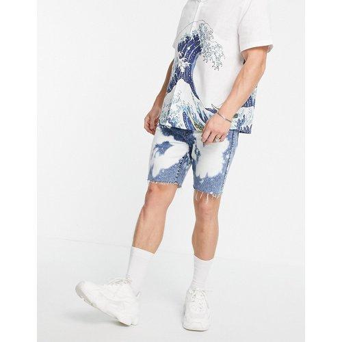 Short ajusté en jean à effet blanchi - Délavage moyen - Topman - Modalova