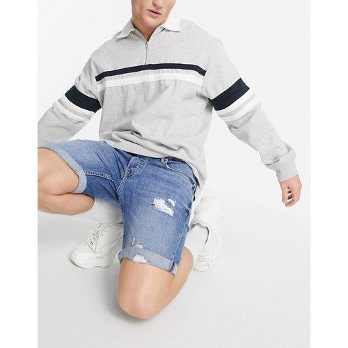 Short en jean skinny stretch déchiré - Délavage moyen - Topman - Modalova