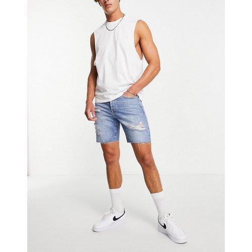 Short slim en jean déchiré - Délavage moyen - Topman - Modalova