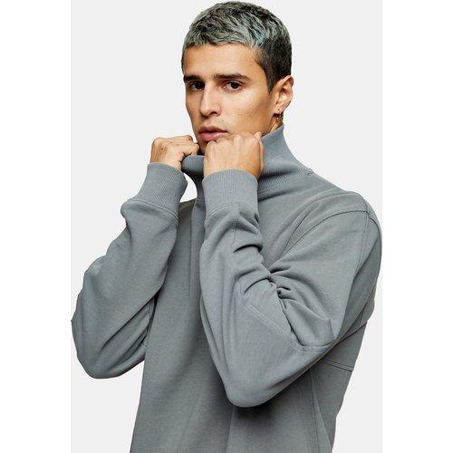 Sweat-shirt à col montant - délavé - Topman - Modalova
