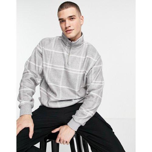 Sweat-shirt à grands carreaux et demi-fermeture éclair - Topman - Modalova