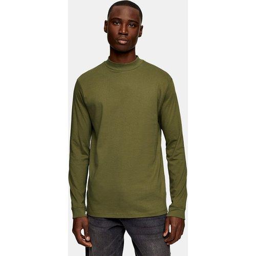 T-shirt à manches longues et col roulé - Olive - Topman - Modalova
