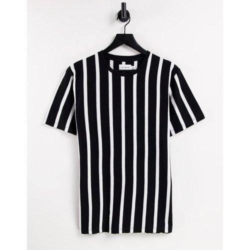 T-shirt classique à rayures verticales - Noir et blanc - Topman - Modalova