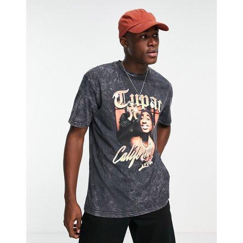 T-shirt oversize à imprimé Tupac California - délavé - Topman - Modalova