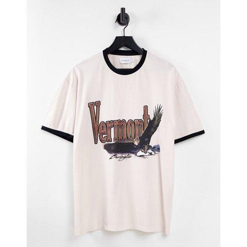 T-shirt oversize à imprimé Vermont et ourlets contrastants - Écru - Topman - Modalova