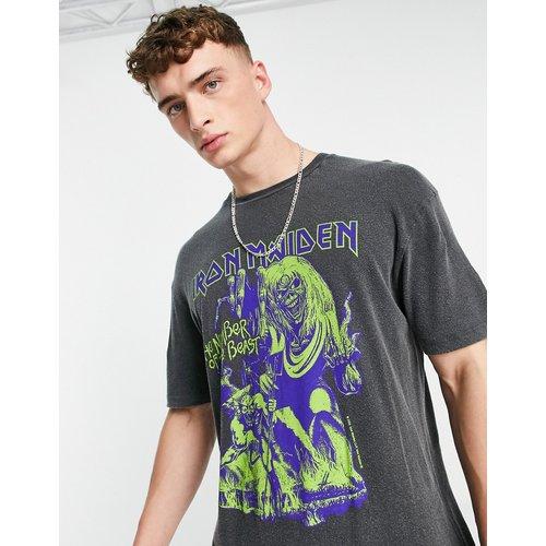 T-shirt oversize avec imprimé Iron Maiden - délavé - Topman - Modalova