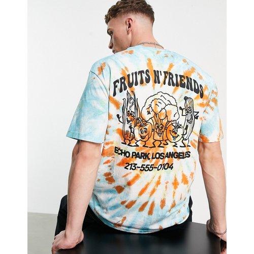 T-shirt oversize effet tie-dye avec imprimé Fruits And Friends devant et au dos - Topman - Modalova