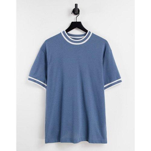 T-shirt oversize en tissu airtex à liserés contrastants - Topman - Modalova