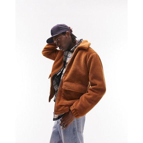 Veste chemise en imitation peau de mouton - Rouille - Topman - Modalova