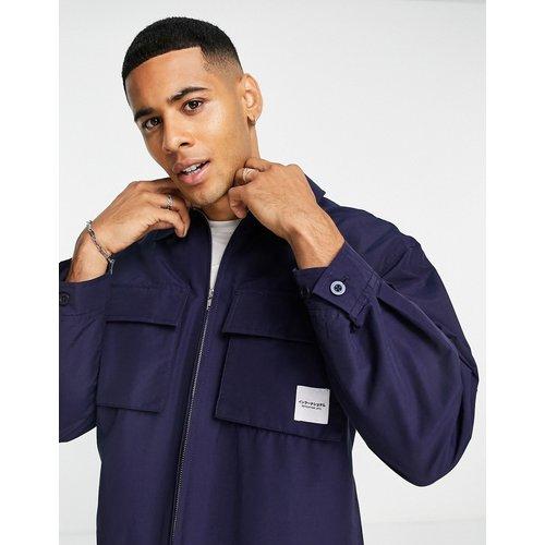 Veste zippée en nylon à logo - Bleu - Topman - Modalova