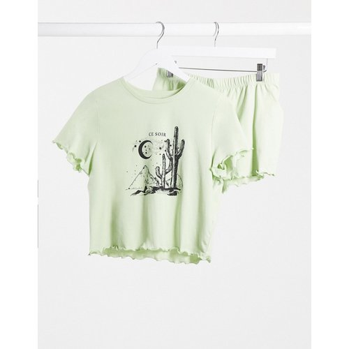 Ensemble pyjama avec short et top à imprimé soleil - Menthe - Topshop - Modalova