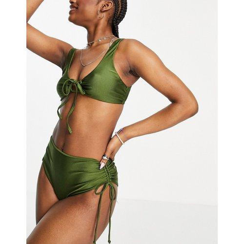 Haut de bikini brillant noué devant - Kaki - Topshop - Modalova