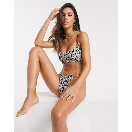 Haut de bikini court à imprimé floral et fronces - Topshop - Modalova