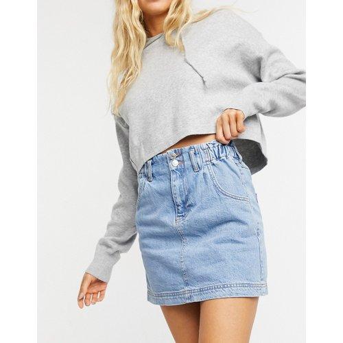 Jupe en jean délavage moyen à taille haute froncée - Topshop - Modalova