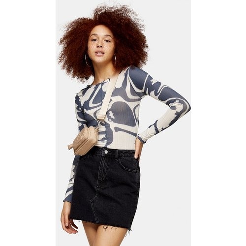 Jupe en jean taille haute - Noir délavé - Topshop - Modalova