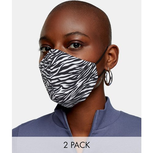 Lot de 2 masques en tissu tendance à imprimé zébré - Noir et blanc - Topshop - Modalova
