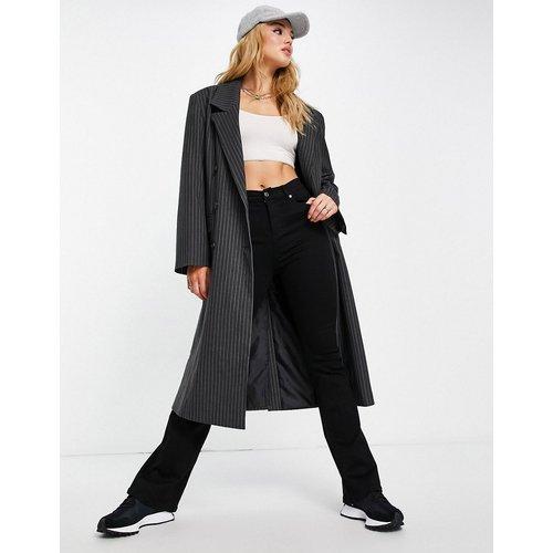 Manteau oversize style dad à fines rayures - Anthracite - Topshop - Modalova